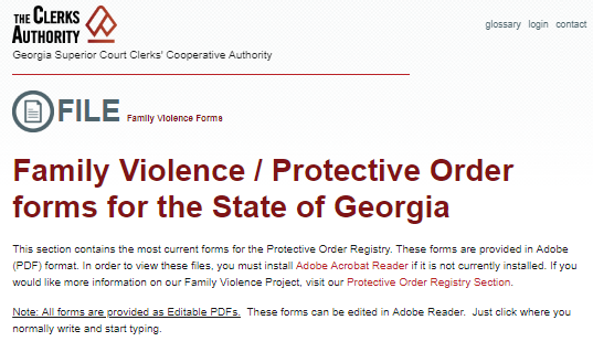Family Violence/Protective Order forms for the State of Georgia